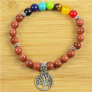 Lucky Bracelet Collection 7 Chakras Beads 8mm in Sunstone on elastic thread 79280