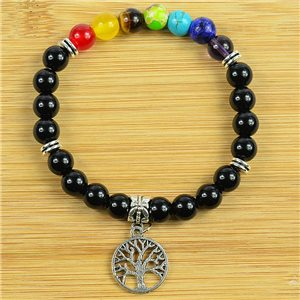 Lucky Bracelet Collection 7 Chakras Beads 8mm in Obsidian Stone on elastic thread 79273