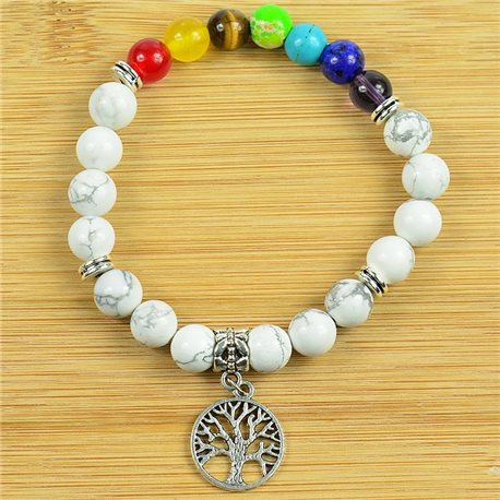 Charm Bracelet Collection 7 Chakras Beads 8mm in White Howlite Stone on elastic thread 79275