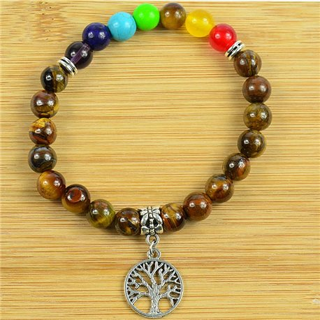 Lucky Bracelet Collection 7 Chakras Beads 8mm in Tiger Eye Stone on elastic thread 79276