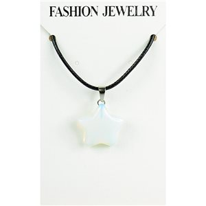 NEW Moonstone Pendant Necklace on cord L43-48cm 79316