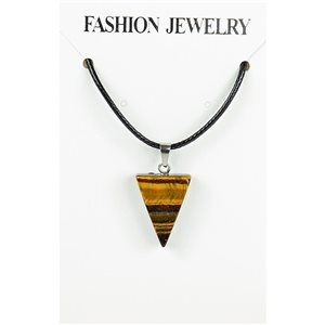 NEW Tiger Eye Stone Pendant Necklace on cord L43-48cm 79345