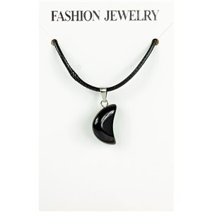 NEW Black Obsidian Stone Pendant Necklace on a cord L43-48cm 79356