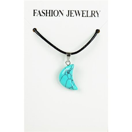 NEW Turquoise Howlite Stone Pendant Necklace on cord L43-48cm 79363
