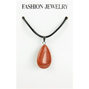 NEW Necklace Pendant in Stone of the Red Sun on a cord L43-48cm 79381