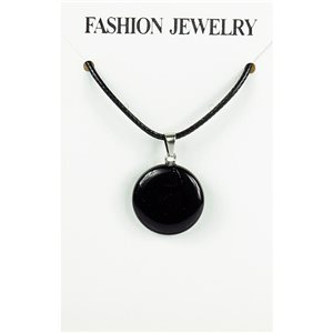 NEW Black Obsidian Stone Pendant Necklace on a cord L43-48cm 79385