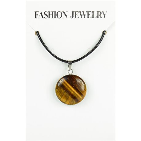 NEW Tiger Eye Stone Pendant Necklace on cord L43-48cm 79389