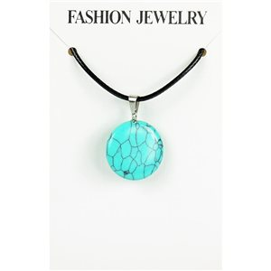 NEW Turquoise Howlite Stone Pendant Necklace on cord L43-48cm 79391