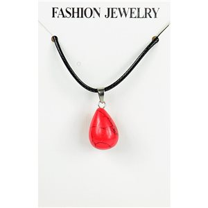 NEW Necklace Pendant in Red Howlite Stone on cord L43-48cm 79405