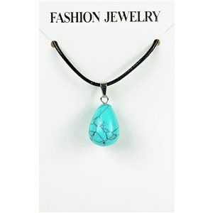 NEW Turquoise Howlite Stone Pendant Necklace on cord L43-48cm 79406
