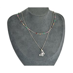 NEW Pretty Pendant Necklace on fine chain all in Stainless Steel 79443