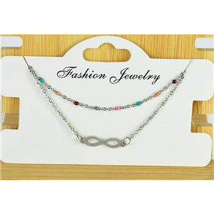 NEW Pretty Fine Chain Bracelet 2 rows all in Stainless Steel 79459