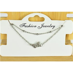 NEW Pretty Fine Chain Bracelet 2 rows all in Stainless Steel 79462