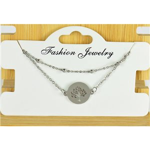 NEW Pretty Fine Chain Bracelet 2 rows all in Stainless Steel 79464