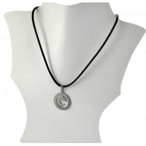 Necklace Pendant Brushed steel Shiny waxed cord on 66089