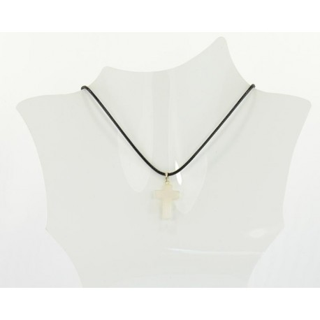 Stone Pendant Necklace in wax cord L48cm 63712