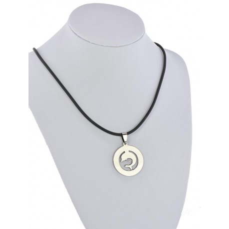 Pendant Necklace Stainless Steel on 64676 Silicone L50cm