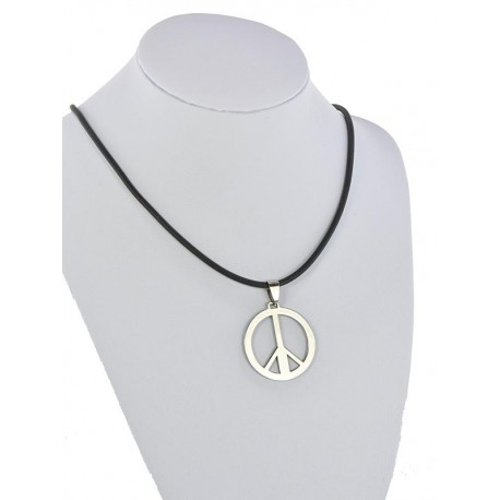 Pendant Necklace Stainless Steel on 64690 Silicone L50cm