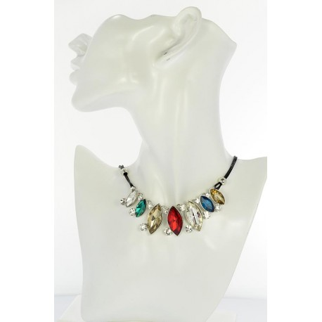 Riviere Necklace Rhinestone and Zircon on waxed cord L48cm 65367