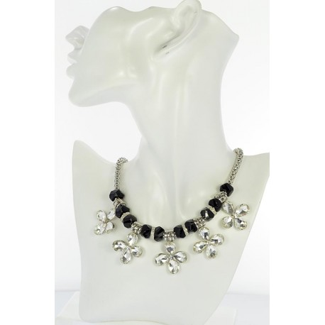 Riviere necklace Rhinestones and zirconia on silver chain 653 L48cm