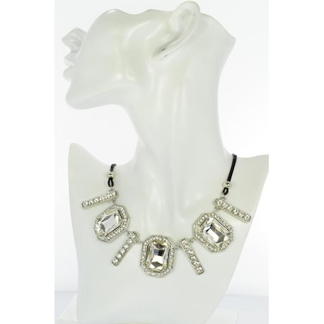 Riviere necklace Rhinestone and Zircon on waxed cord L48cm 65377