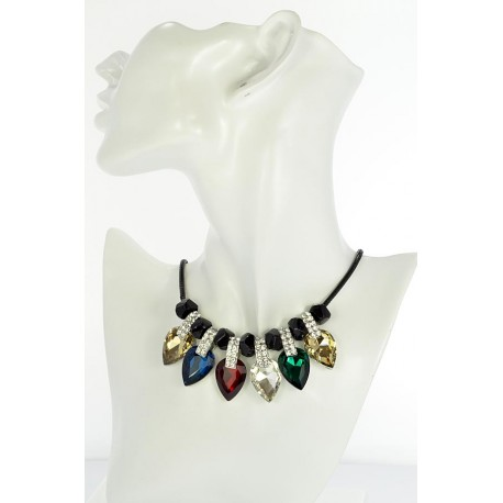 Riviere necklace Rhinestone and Zircon on waxed cord L48cm 65379