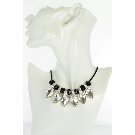 Riviere Necklace Rhinestone and Zircon on waxed cord L48cm 65380