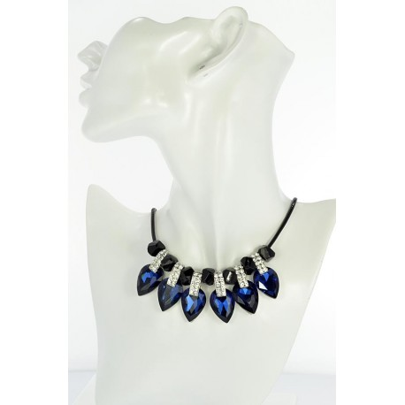 Riviere necklace Rhinestone and Zircon on waxed cord L48cm 65381