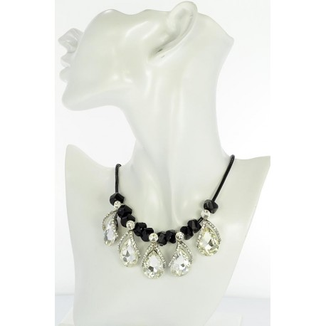 Riviere necklace Rhinestone and Zircon on waxed cord L48cm 65383