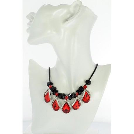 Riviere Necklace Rhinestone and Zircon on waxed cord L48cm 65384