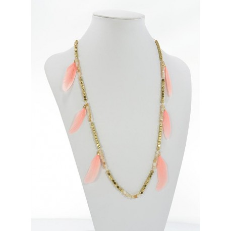 Long Necklace Summer Feathers on Stones and Jewelry L90cm 65628