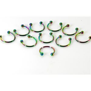 10 piercings circular 2 balls rainbow d1.2mm l12mm surgical steel 68911