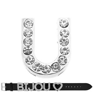Initial Full Rhinestone Bracelet 20mm to 18mm Letter name U 69221
