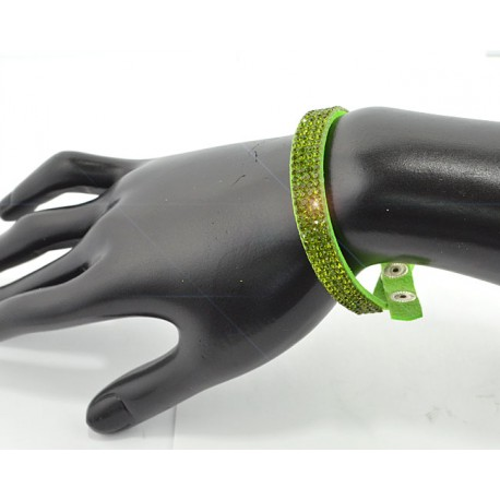 Fashion Leather Bracelet appearance Full Rhinestones L20cm 61676